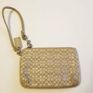 Coach Gold and Silver Wristlet